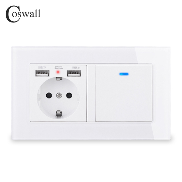 COSWALL Russia Spain EU Standard Wall Socket 2 USB Charge Port + 1 Gang 1 Way On / Off Light Switch LED Indicator Glass Panel