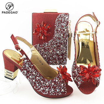 2020 Red Color Fashion Rhinestone Woman Shoes And Matching Bag Set Mature Style Pumps Shoes And Bag Set For Party Wedding