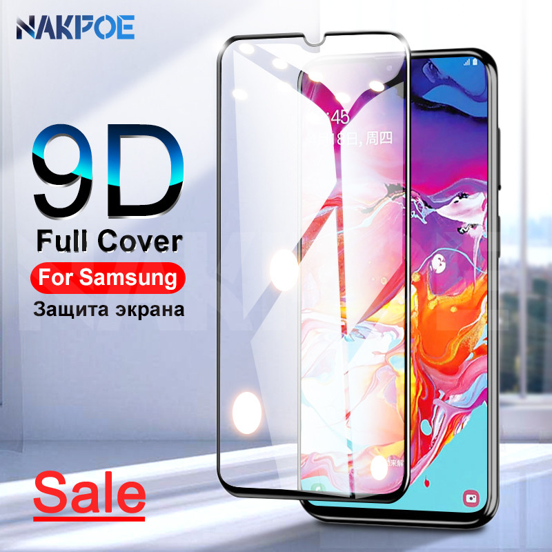 9D Tempered Glass On For Samsung Galaxy A90 A80 A70 A60 A50 A40 A30 A20 A10 M10 M20 M30 M40 Full Cover Protection Safety Glass