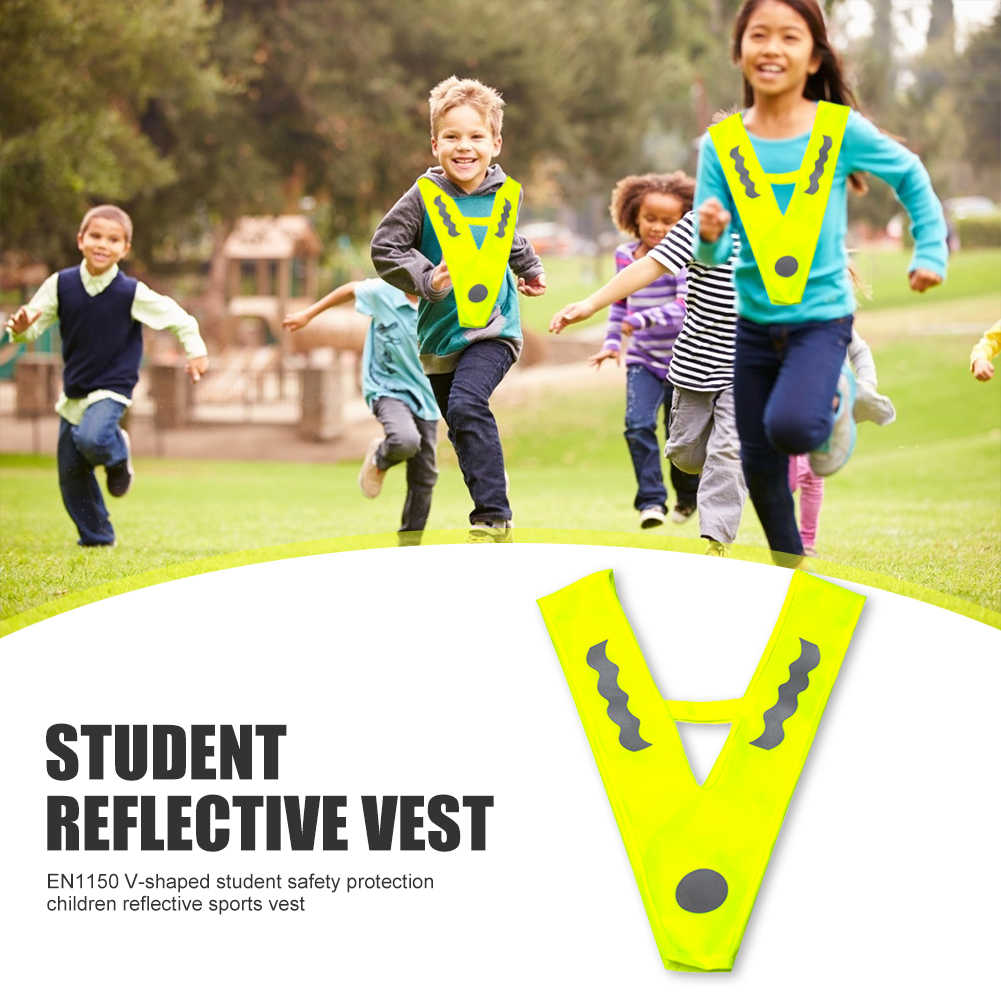 Outdoor Children V-shaped Reflective Vest Breathable High Visibility Night Jogging Running Sports Safety Protection Vests