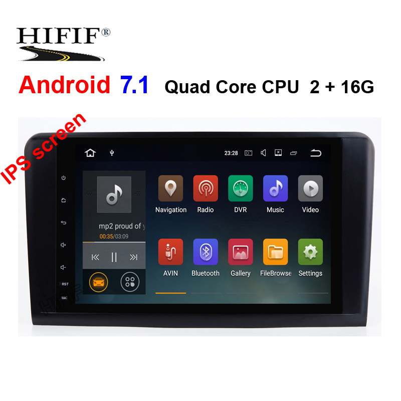 IPS 2 Din 9 pouces Android 7.1 autoradio pour Mercedes/Benz/GL ML classe W164 ML350 ML500 X164 GL320 Canbus Wifi GPS BT Radio