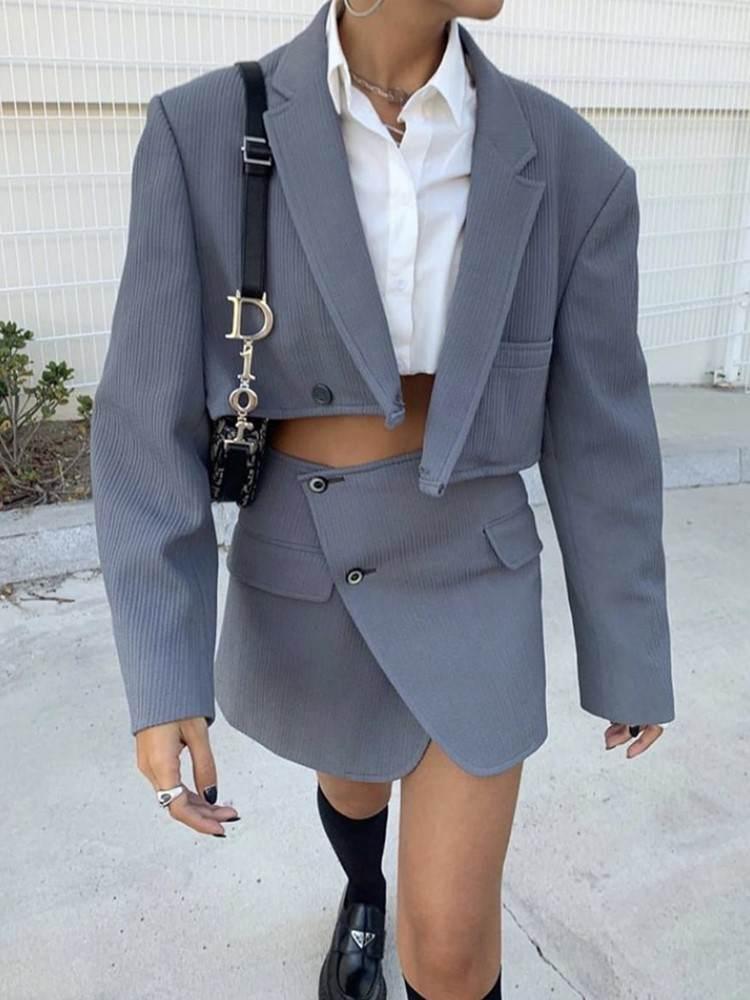Suits Blazer Short Mini-Skirt Long-Sleeve One-Button Vintage Sexy 2pieces-Set High-Waist