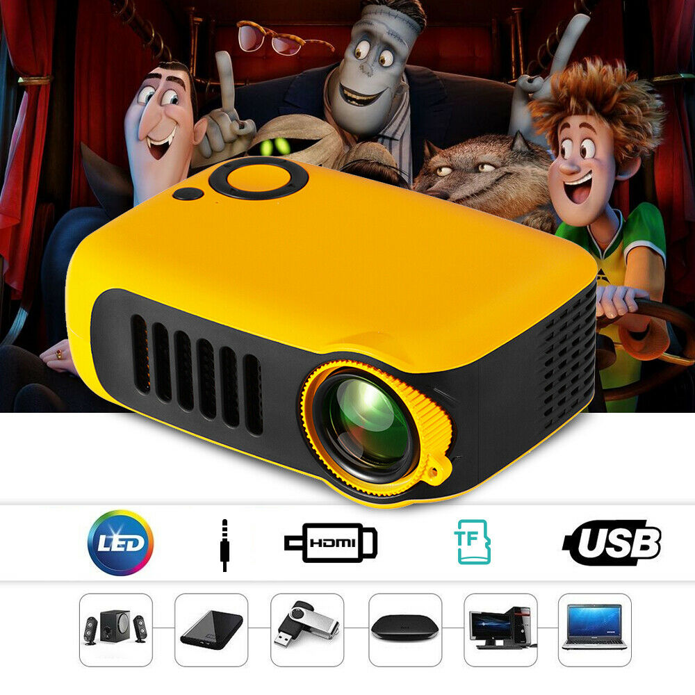 A2000 Projector 800 Lumens LCD 50,000 Hours Lamp Life Home Theater Video Projector Support 1080P HDMI Media Video player UK Plug