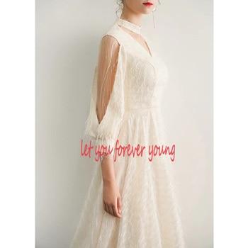 2021 New Elegant Champagne Long Evening Dresses V-Neck A-Line Floor Length Lace Prom Dresses Robe De Soiree Party Dress LYFY15 5