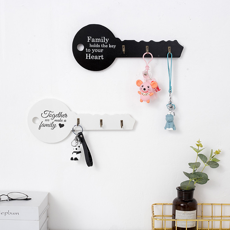 Retro Wood Key Holder Wall Key Shape Hook Storage Rack Hanger Decor Room Hanging Gifts Home Entrance Door Wall Organizer