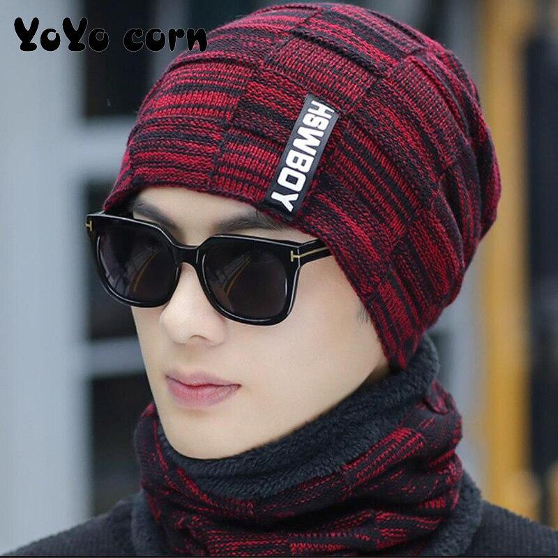 Yoyoyocorn Балаклава маска Gorras Bonnet вязаная шапка зимняя шапка Skullies Beanies шапка зимние шапки для мужчин и женщин шерстяной шарф шапки