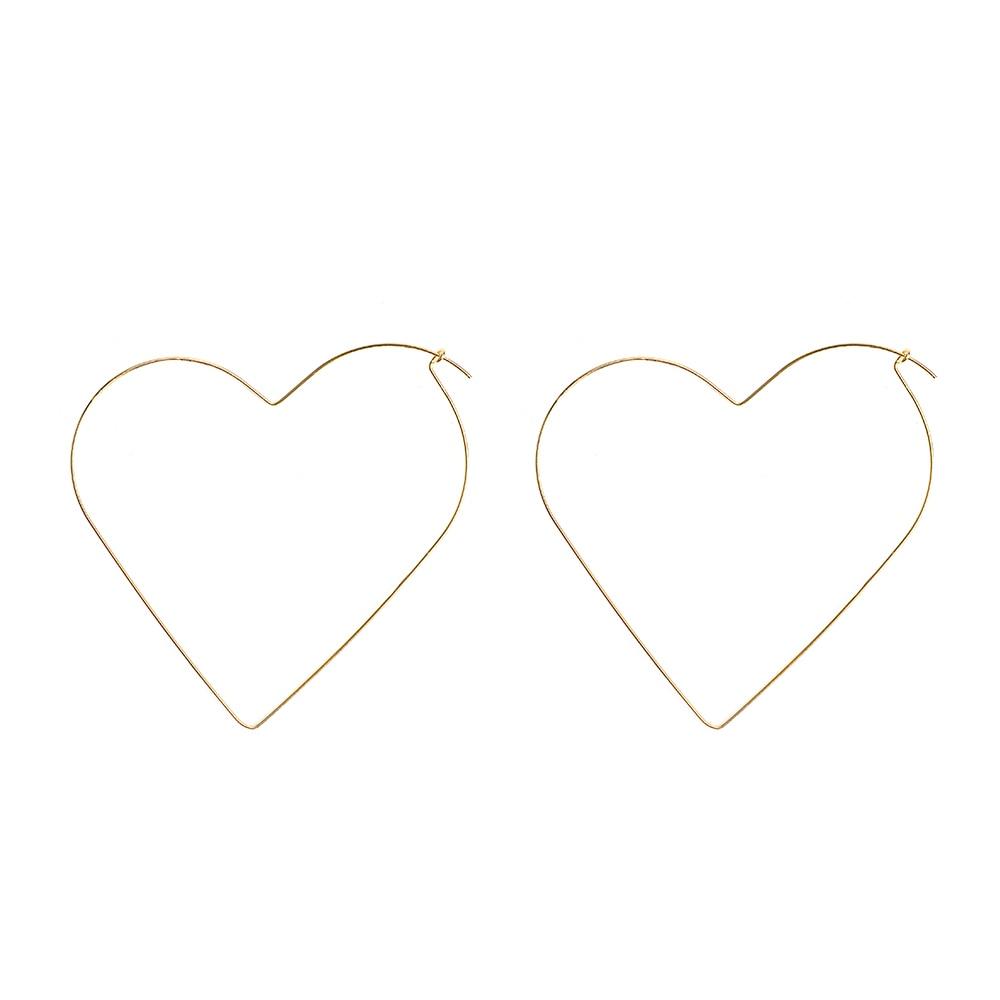 Fashion personality Hyperbole Hollow Simple Large Heart Pentagram Shaped Hoop Earrings Jewelry for Women street trendy decoratio 4