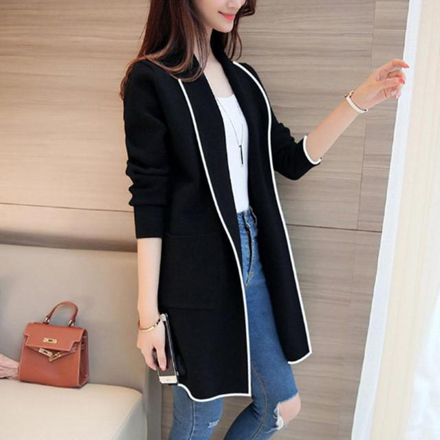 2021 Autumn Winter Long Cardigan Female Casual Women Pocket Cardigan Sweater Knitted Cardigans All-match For Women Jacket Tops 4