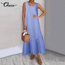 Celmia 2020  Maxi Long Dress Fashion Women Summer Sundress Cotton Ruffles Casual Loose Sleeveless Party Vestidos Mujer Plus Size