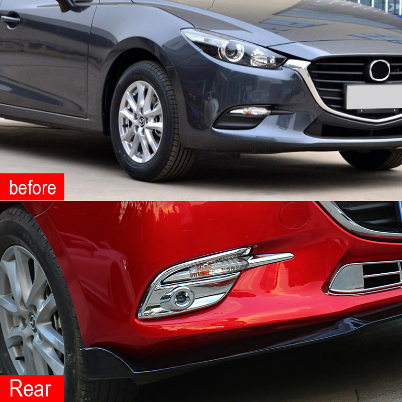 Hivotd For Mazda 3 Axela 2017 2018 accessory ABS Chrome Front Rear fog light Garnish Strip cover frame Trim Exterior car styling in Chromium Styling from Automobiles Motorcycles