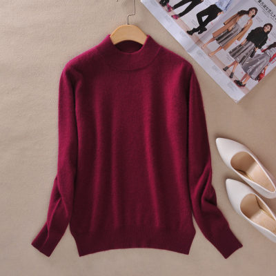 Women Cashmere 2021 New Autumn Winter Vintage Half Turtleneck Sweaters Plus Size Loose Wool Knitted Pullovers Female Knitwear11 13
