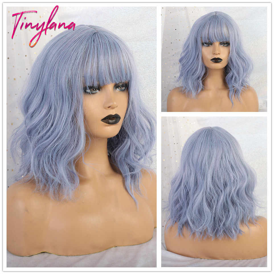 TINY LANA Synthetic Wigs for Women Wave Hair Blue with Bangs Natural Hair Heat Resistant Fiber Lolita Bob Wigs Party Cosplay