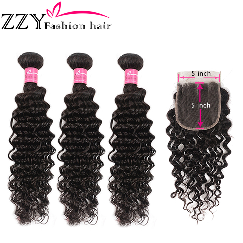 ZZY Deep Wave Bundles With Lace Closure  Brazilian Human Hair Hair Weave 3 Bundles With Closure 5*5 Non-remy Hair Extensions