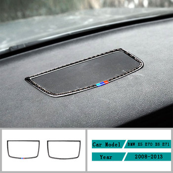 Carbon Fiber Car Accessories Interior Car Dashboard Panel Speakers Protective Decals Cover Trim Stickers For BMW X5 X6 2008-2013 image
