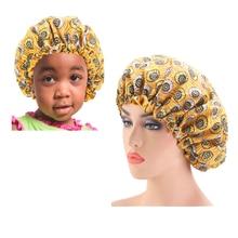 2PCS Large African Print Ankara Satin Bonnet Parent-child Double Layer Sleeping Cap Headwrap Adjustable Night Cap Head Cover