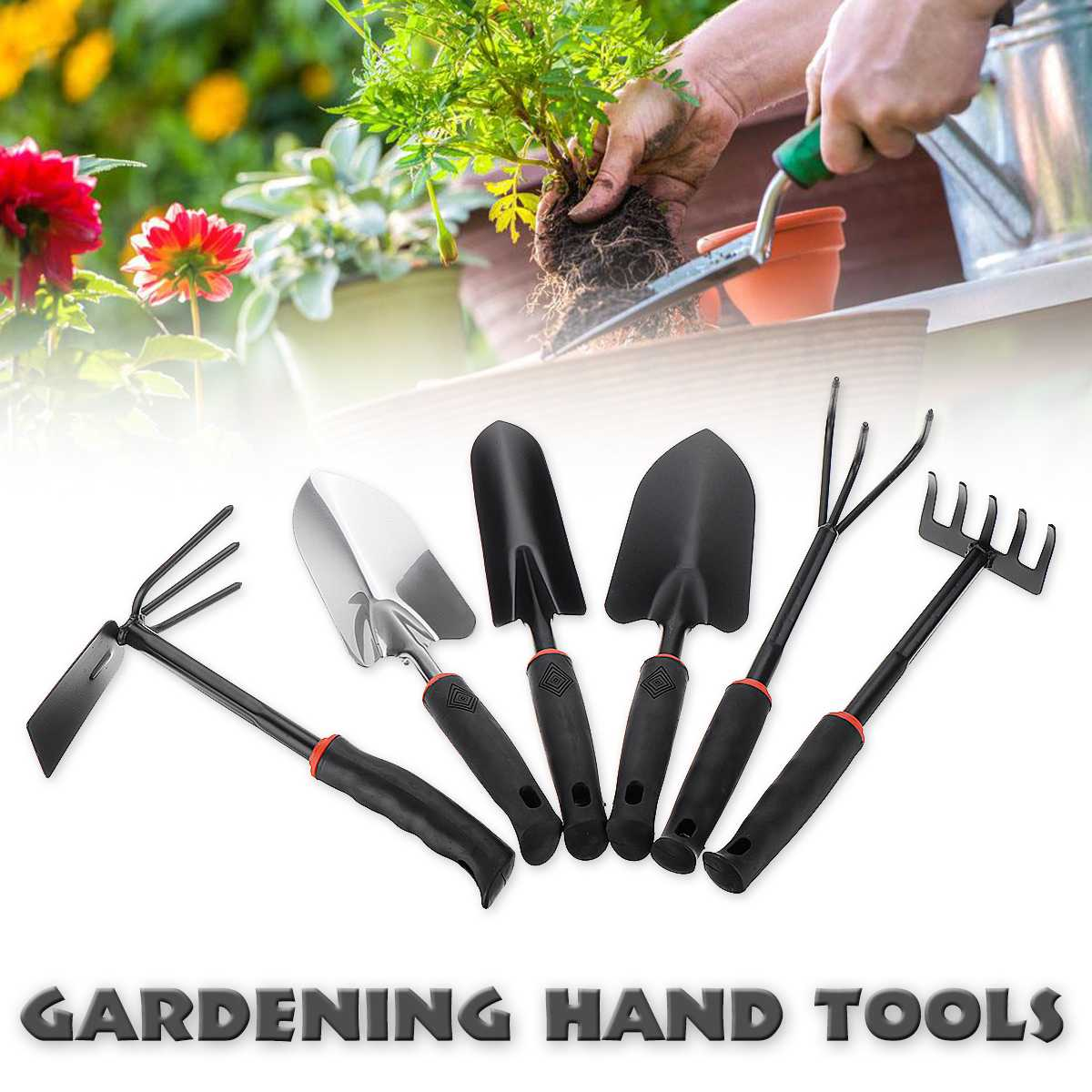 Durable Steel Hand Weeding Fork Transplanting Digging Tools 3/5 Pronged Rake Trowel Shovel Hoe For Garden Planting Hand Tool