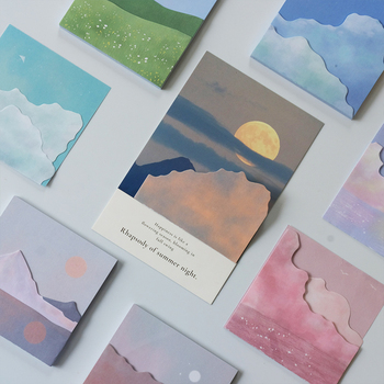 JIANWU 80 Sheets Daydream Series 3D Sky Sticky Notes Art Memo Pad Decoration Stickers Stationery School Supplies Kawaii image