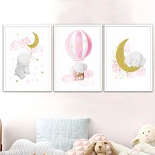 Pink and Gold Elephant Moon Hotair Balloon Canvas Poster and Print Baby Girl Nursery Wall Art Picture Kids Bedroom Decoration майка борцовка print bar girl and moon
