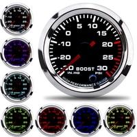 2 52mm Racing Car Turbo Boost Gauge 30~30 PSI Adjustable Auto Turbo Boost Controller 7 Colors gauges truck meter pointer