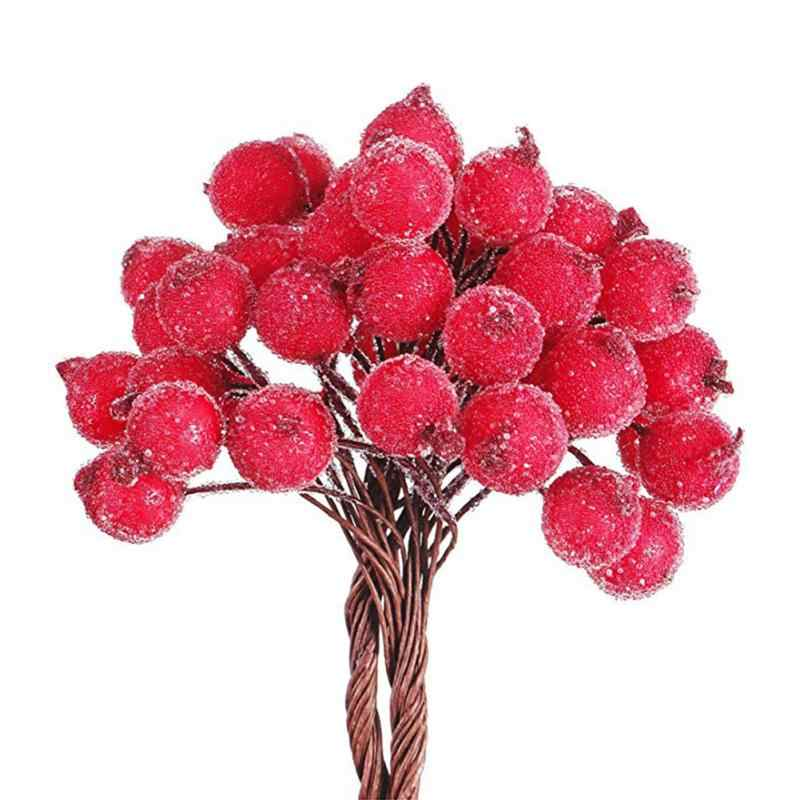 40 PCS Mini Natal Buram Buah Buatan Merah Terang Holly Berry Holly Berry Rumah Garland Pesta Tahun Baru Dekorasi