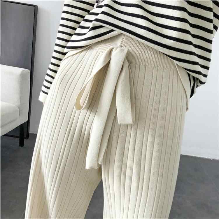 Rlyaeiz עצלן סגנון אופנה 2 חתיכה להגדיר נשים ספורט 2019 סתיו מזדמן פסים סריגה סוודרים + רחב רגל מכנסיים אימונית