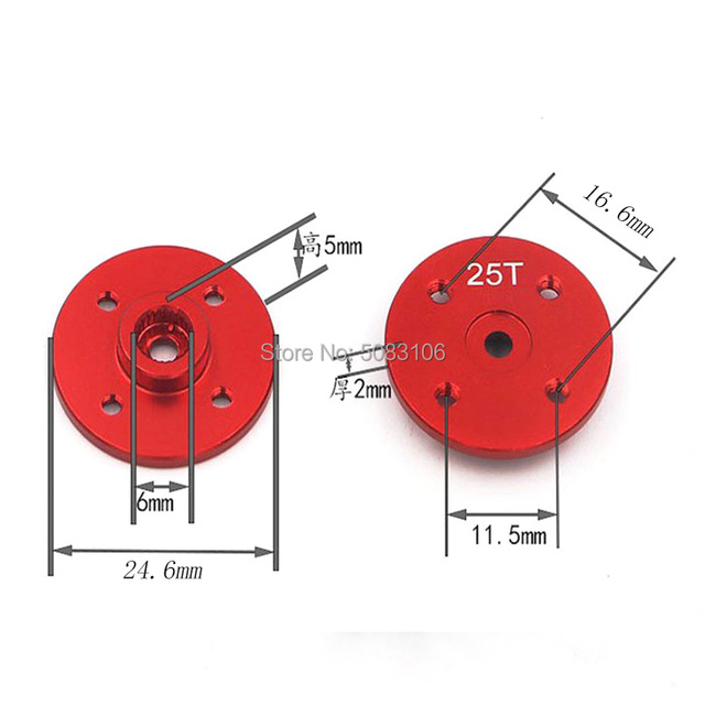 2 unids/lote CNC de metal Servo brazo futaba jr hitec Emax Servo disco brazo 23T 24T 25T disco tipo para Rc avión barco coche helicóptero