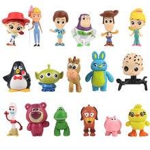 17 unids/lote juguete de dibujos animados de Woody Jessie Buzz Rosa Oso de Mini coche decoración muñecas de acción de PVC figuras en miniatura de juguete
