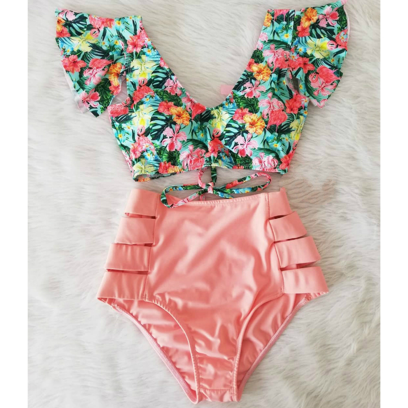 High Waist Bikini Set Swimwear Women Swimsuit Sexy Push Up Biquini Ruffle Bikinis Floral Printed Feminino 2020 Bathing Suit