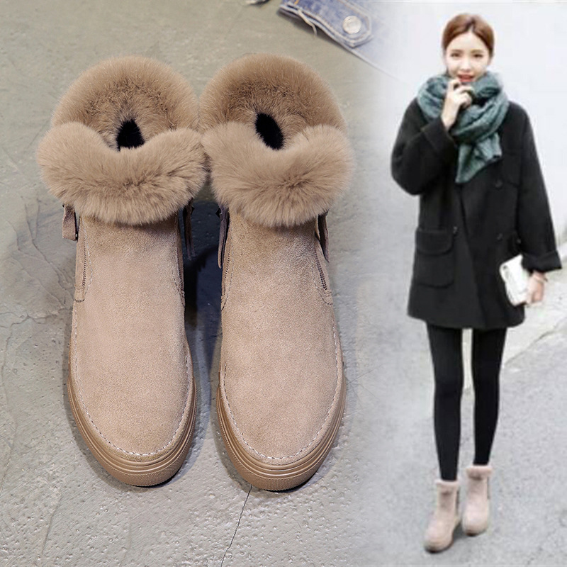 SWYIVY Flat Zipper Nubuck Woman Winter Boots 2019 Fashion Snow Ankle Boots For Women Shoes Short Plush Sewing Booties Solid ShoeAnkle Boots   -