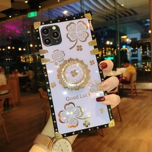 Image 4 - אופנה בלינג ריינסטון פרח Stand מחזיק כיכר מקרה טלפון עבור Samsung Galaxy S8 S9 S10 S20 FE S21 בתוספת הערה 8 9 10 20 אולטרה