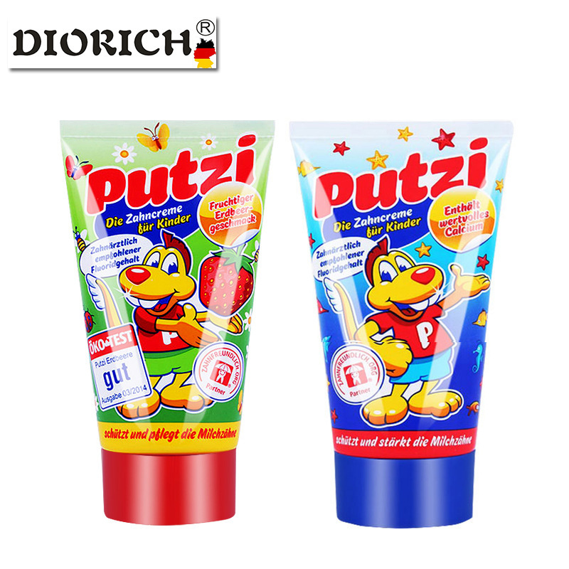 Putzi Children's Toothpaste Imported From Germany 1-3-6 Years Old Edible Baby Swallowable Toothpaste Press Type