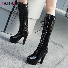 SARAIRIS Hot Sale 34-48 Ladies Fashion Patent Pu Knee High Boots Women 2019 Cross Tied Platform Heels Shoes Woman