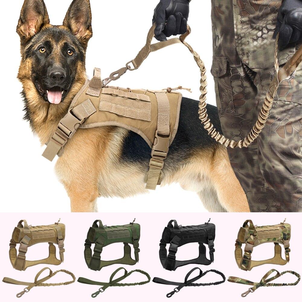 Tactical Dog Harness Vest Military Working Dog Clothes Harness Leash Set Molle Dog Vest For Medium Large Dogs German Shepherd