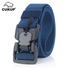 CUKUP 2019 New Design Nylon Magnetic Buckle Leisure Elastic Braided Belt Security Plastic Hook Style Casual Belts 3.8cm CBCK143