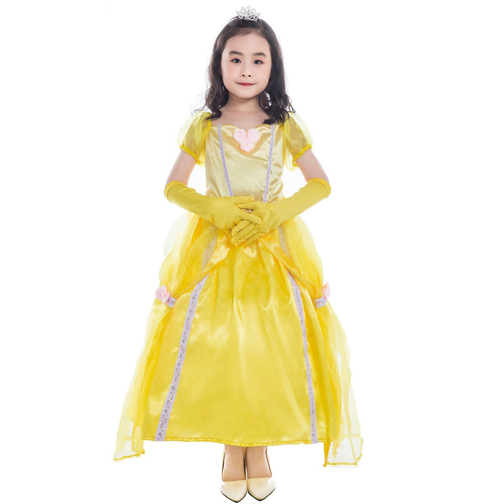 Children's Day Clothing Beauty And The Beast Bell Princess Dress Girls Yellow Princess Belle Halloween Stage Wear