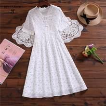 Verão feminino doce romântico vestido de renda com decote em v branco floral impresso vestidos longo manga curta coreano chique algodão vestidos
