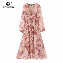 ROHOPO Double Layers Notched Collar Red Floral Belted Pink Chiffon Midi Dress Long Sleeve Maxi Elegant Holiday Vestido #2280