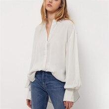 Pinstripe Irregular White Blouse Woman Summer Long Lantern Sleeve Stand Neck Shirts Casual Vintage Loose Femme Chemise Tops 2021