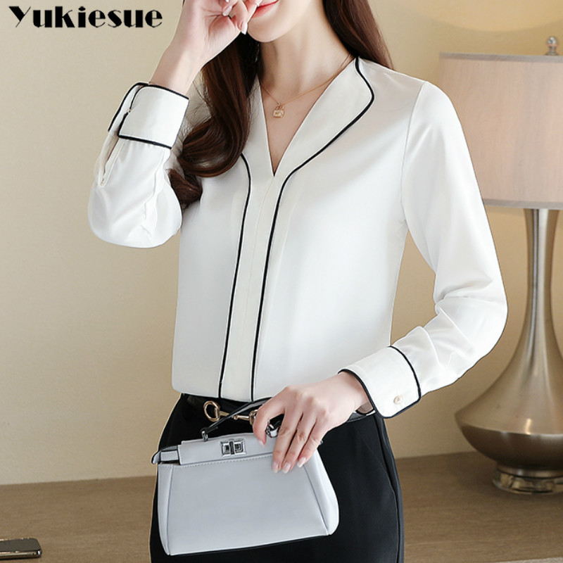 womens tops and blouses ofiice work wear blouse long sleeve women shirts women chiffon blouse shirt blusas femininas Plus size Блузки и рубашки      АлиЭкспресс
