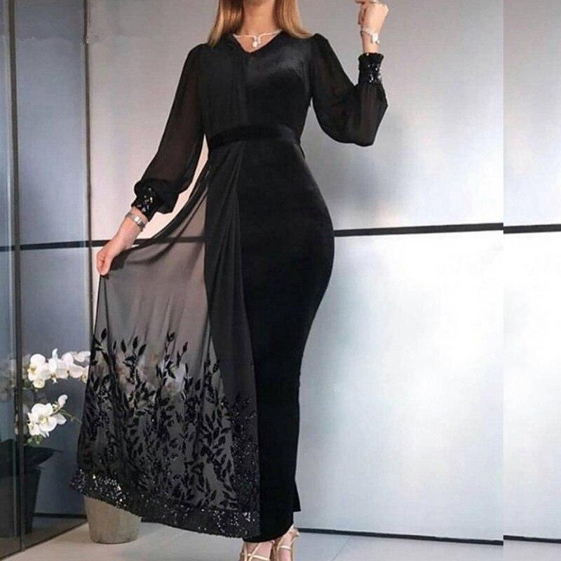Nouveauté robes de soirée à manches longues 2019 robe de soirée noire en dentelle perlée Abiye abendkleider dubai robe de soirée