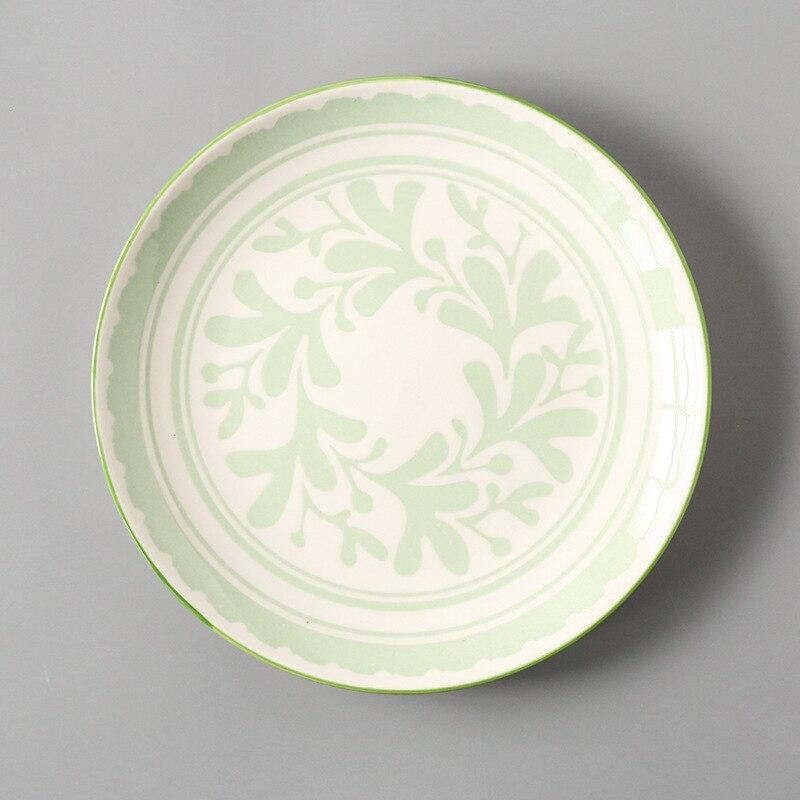 Креативный японский стиль 8 керамическая тарелка дюймовая посуда для завтрака говядины десертное блюдо для закусок простое мелкое блюдо домашнее блюдо для стейков - Цвет: 9