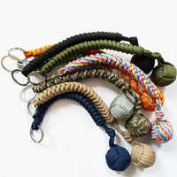 Outdoor Camping Parachute Cord Steel ball Survival Tool Girl Self Protection Emergency Paracord key Chain Multifunctional Rope