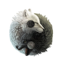 Car Sticker Personality Yin Yang wolf Automobiles Motorcycles Exterior Accessories PVC Decal 14cm*12 8cm cheap The Whole Body Glue Sticker 0 01cm Stickers cartoon Creative Stickers Not Packaged