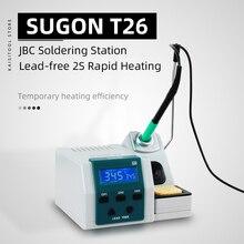 SUGON T26 Estacion De Soldadura Función De Calentamiento Temporal Kit De Soldador+3PCS JBC Iron Tip 80W Poder Estacion Soldadura