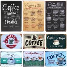 Menú de café vintage café estaño signo retro placa de metal pintura clásica hierro imagen decoración de pared para cafetería