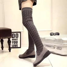 Fashion Over The Knee Boots 2019 Autumn And Winter Platform Wedges Shoes Vintage Knitting Boots High Boots Botas Mujer Long Boot prova perfetto women knee high boots straps platform rubber shoes woman chunky high heel long botas mujer handmade martin boot