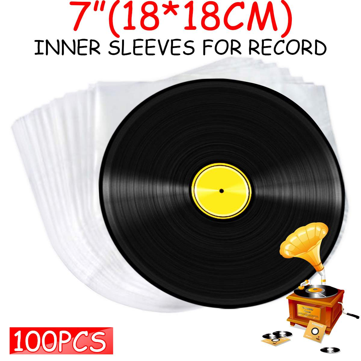 100pcs 7inch Vinyl Record Protecter LP Record Plastic Bags Anti-static Record Sleeves Outer Inner Plastic Clear Cover Container