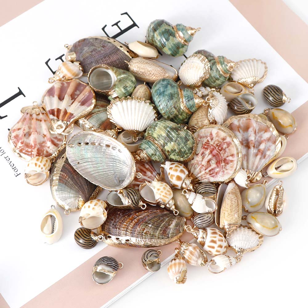 5Pcs/set Natural Seashell Metal Crafts Ornaments For Pendant Shells Necklace Pendant Making Alloy Beads DIY Jewelry Accessory
