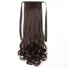 48 см обертывание Синтетическая лента для хвостика типа наращивания волос длинные волнистые клип в хвосте накладные волосы пони хвост шиньон с шпилькой