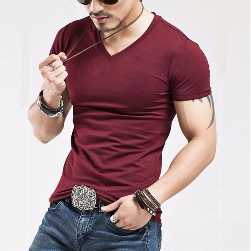 2019 New Solid Color Men T Shirt Fitness Mens V Neck Man T-shirt For Male Tshirts  Free Shipping